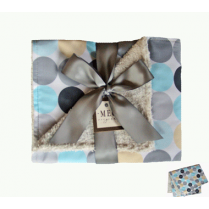 Baby Blue & Gray Disco Dot Chenille Stroller Blanket