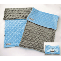 Baby Boy Blue & Gray Minky Dot Burp Cloth Gift Set