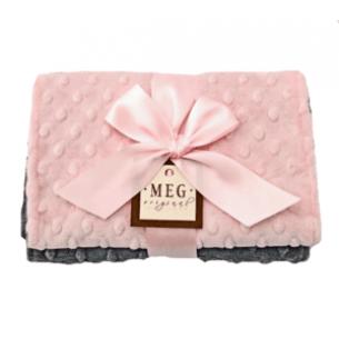 Baby Girl Pink & Gray Minky Dot Burp Cloth Gift Set