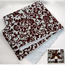 Blue & Brown Fancy Damask Baby Blanket