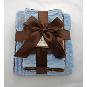 Blue & Brown Minky Dot Baby Blanket Gift Set