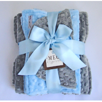 Blue & Gray Minky Dot Baby Blanket Gift Set