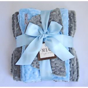 Blue & Gray Minky Dot Baby Blanket Gift Set