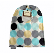 Blue & Grey Disco Dot Reversible Cotton Baby to Toddler Bib