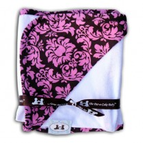 Chocolate & Pink Damask Hooded Baby Towel