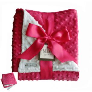 Hot Pink & White Minky Dot Blanket