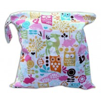 Pink Whimsy Woods Baby Wet Bag Diaper Clutch