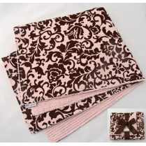 Pink & Brown Fancy Damask Baby Blanket