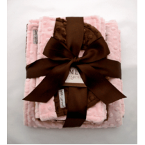 Pink & Brown Minky Dot Baby Blanket Gift Set