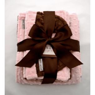 Pink & Brown Minky Dot Baby Blanket Gift Set