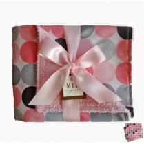 Pink & Gray Disco Dot Chenille Stroller Blanket