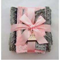 Pink & Gray Minky Dot Baby Blanket Gift Set