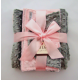 Pink & Gray Minky Dot Baby Blanket Gift Set