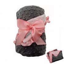 Pink & Gray Minky Dot Ruffle Blanket