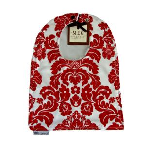 Red & White Damask Reversible Cotton Baby to Toddler Bib
